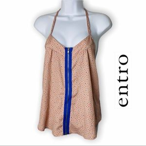 ENTRO Spotted Blue Zipper Front Top